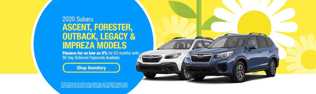 0% Financing on 2020 Subaru Ascent, Forester, Outback, Legacy, Impreza
