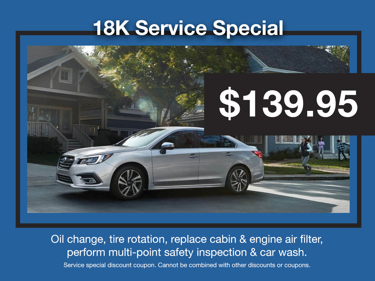 Subaru 18,000 Mile Interval Service Coupon
