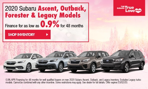2020 Ascent, Forester, Legacy, Outback 0.9% Financing