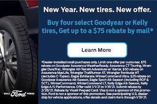 Buy 4 select Goodyear or Kelly tires and get up to a $75 rebate by mail.