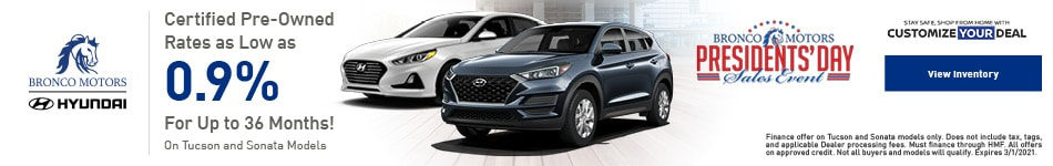 Certified Pre-Owned Tucson & Sonata - February