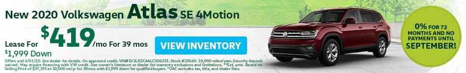 May New 2020 Volkswagen Atlas SE 4Motion Lease