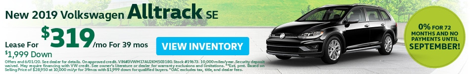 May New 2019 Volkswagen Alltrack SE Lease