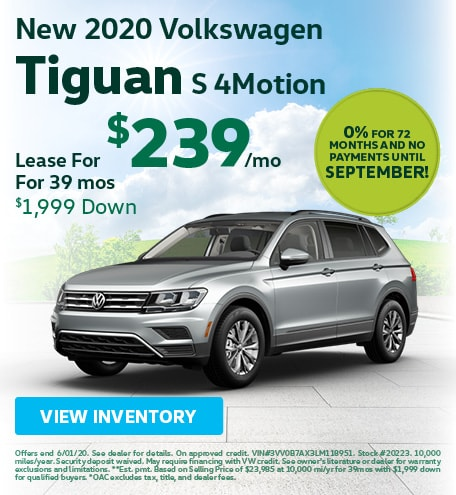 May New 2020 Volkswagen Tiguan S 4Motion Lease