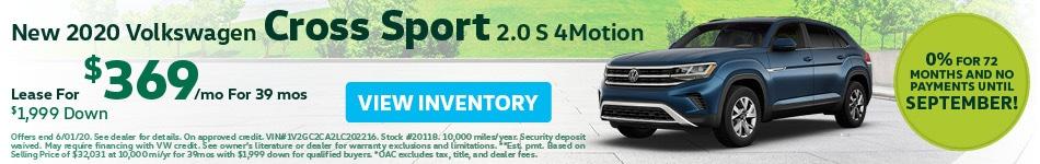 May New 2020 Volkswagen Cross Sport 2.0 S 4Motion Lease