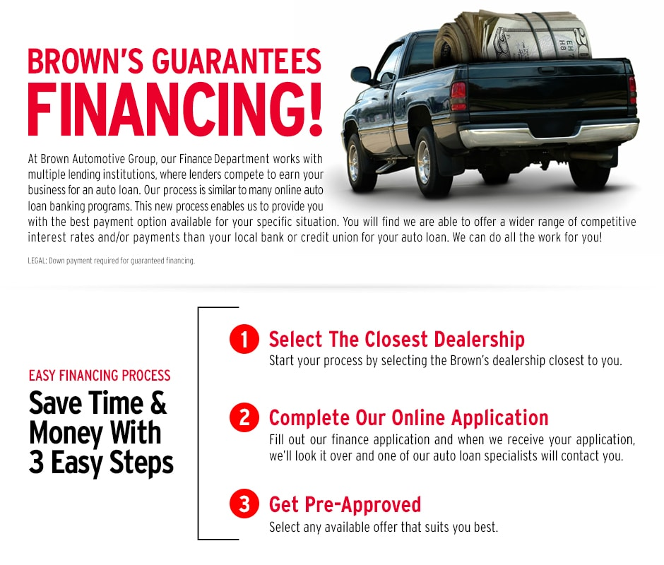 finance a new or used vehicle at Brown's Automotive