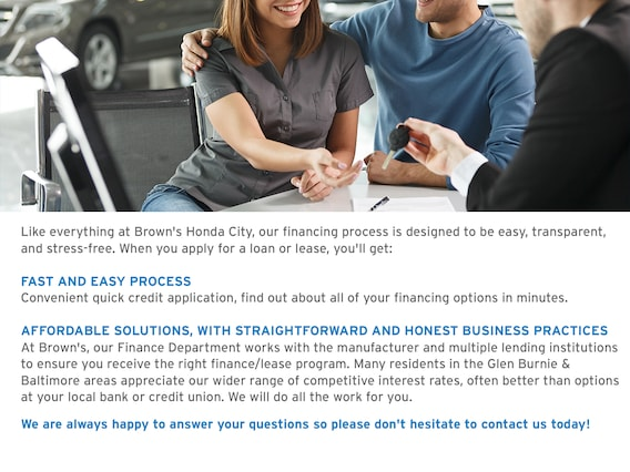 Honda Financing Rates >> Finance Center At Brown S Honda City Auto Loan Or Lease