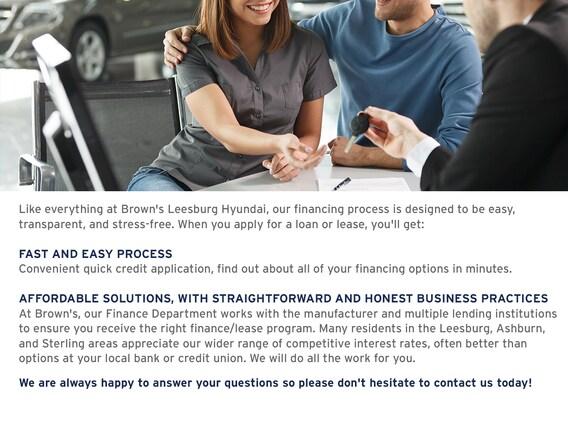 Leesburg Auto Finance >> Brown S Leesburg Hyundai Financing Center In Northern Virginia