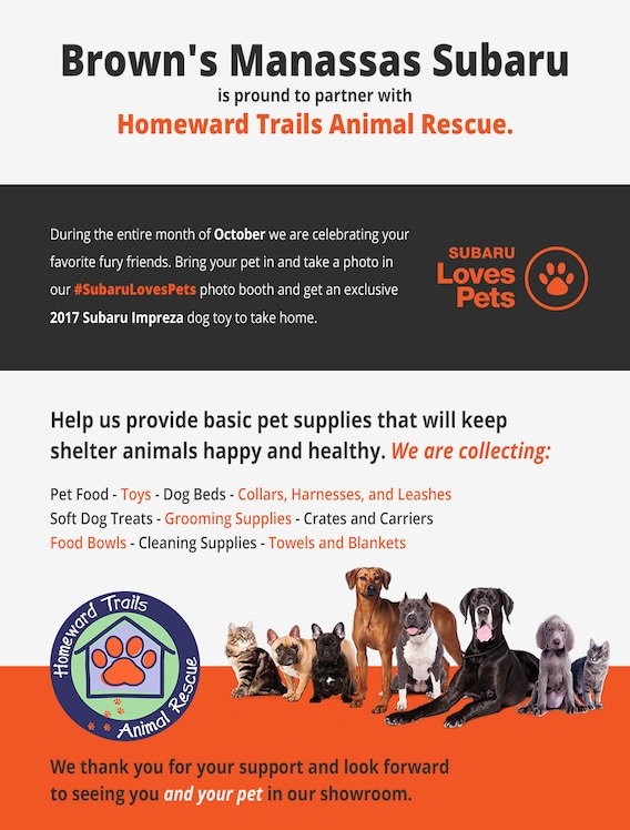 proud to support local organizations who keep animals safe and sound brown s manassas subaru brown s manassas subaru