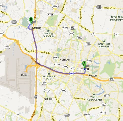 Directions Map from Reston VA Browns Dulles Nissan New