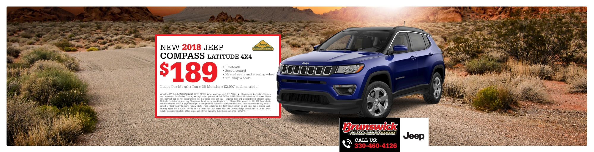 2018 Jeep Compass Special - Lease For $189 A Month For 36 Months With $2,997 Due At Signing