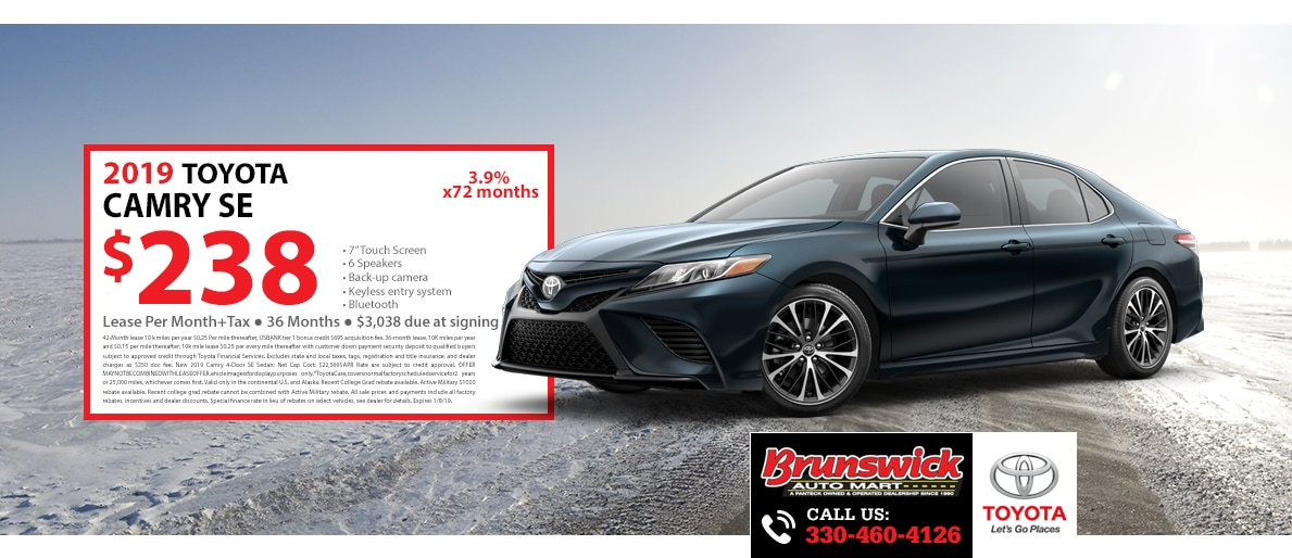 2019 Camry Se Special Lease For 238 A Month For 36 Months With