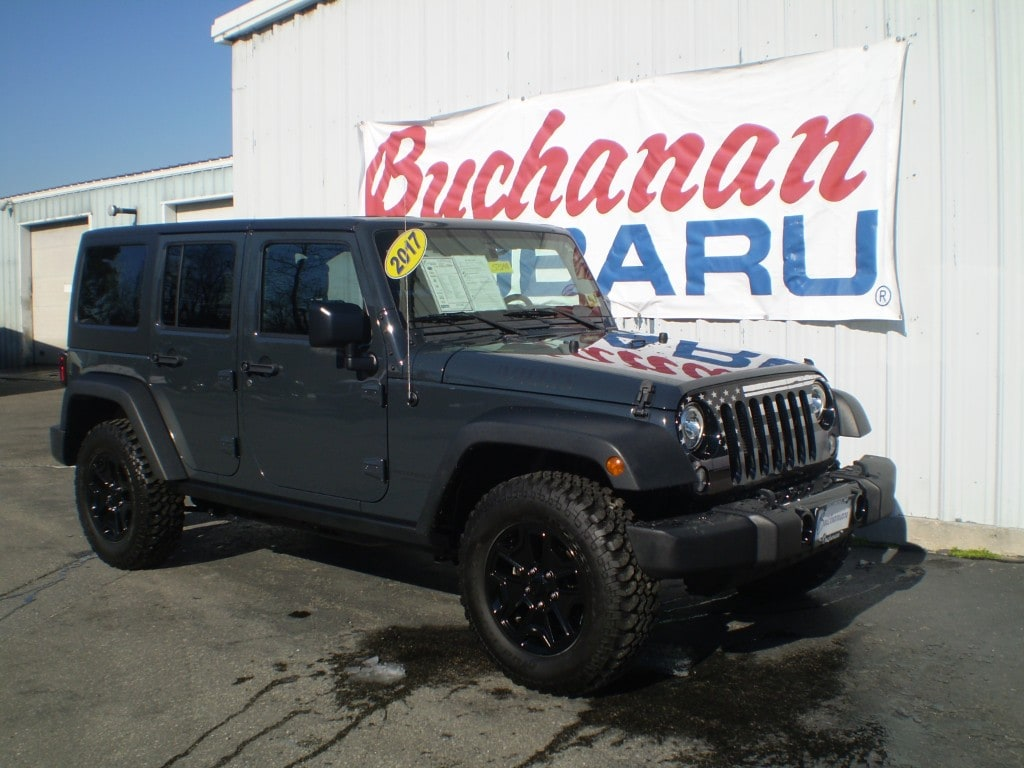 Featured Pre-Owned 2017 Jeep Wrangler Unlimited Willys Wheeler 4x4 Willys Wheeler  SUV for sale in Pocomoke City, MD