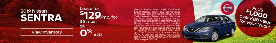 July 2019 Sentra Lease Offer