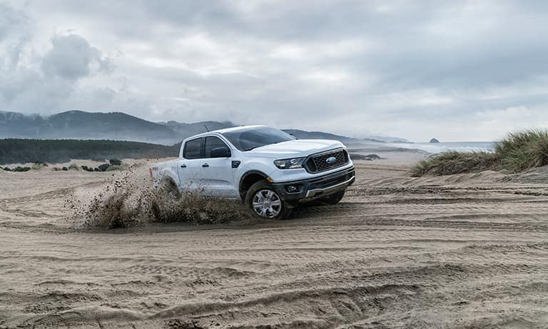 2019 White Ford Ranger Driving in Sand