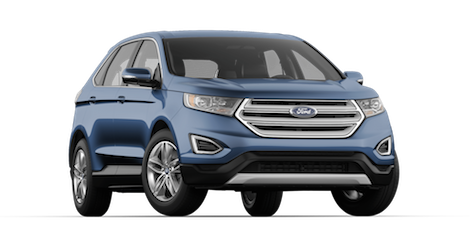 A blue 2018 Ford Edge SEL