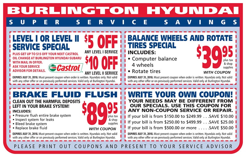Burlington Hyundai Service  Coupons