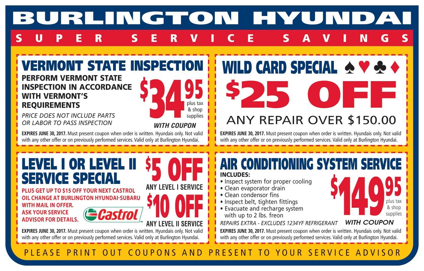 Burlington Hyundai Service  Coupons