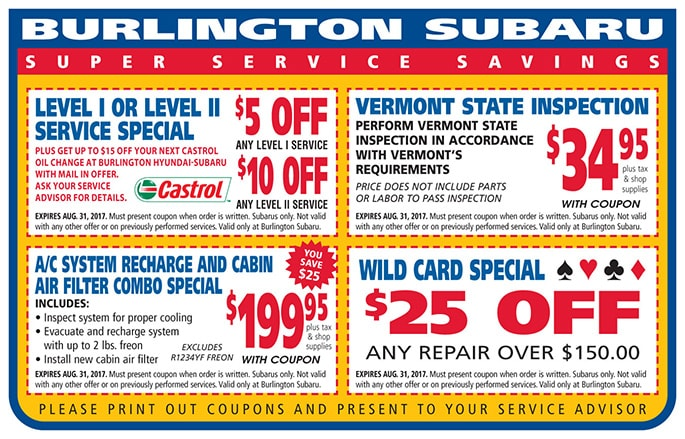 Burlington Subaru Service Coupons