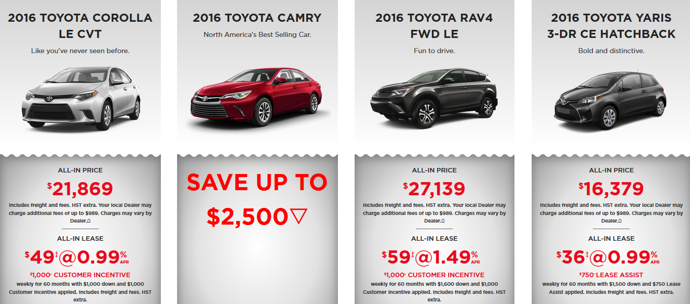 2016 burlington toyota clearout event click here to view our inventory
