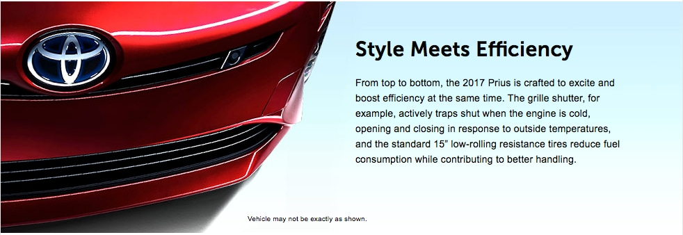 From top to bottom, the 2017 Prius is crafted to excite and boost efficiency at the same time. The grille shutter, for example, actively traps shut when the engine is cold, opening and closing in response to outside temperatures, and the standard 15