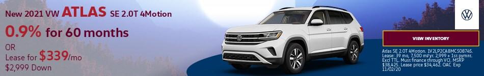 New 2021 VW Atlas SE 2.0T 4Motion