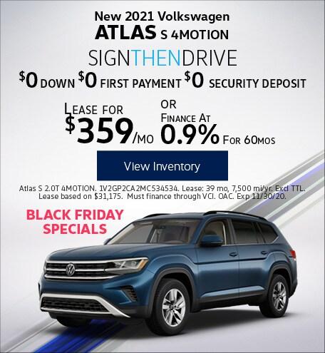 New 2021 Volkswagen Atlas S 4MOTION
