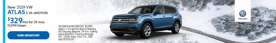 New 2019 VW Atlas S V6 4MOTION