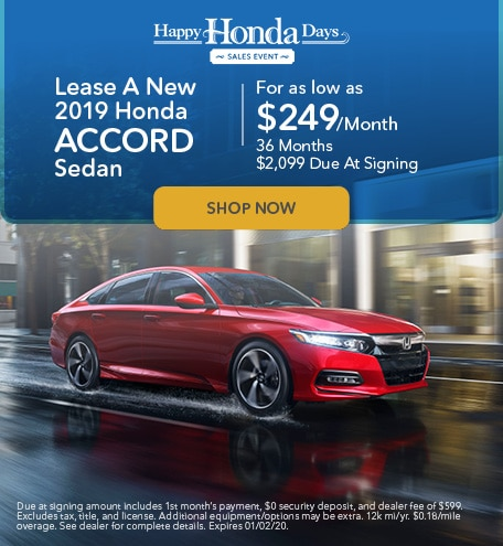 Lease A New 2019 Honda Accord - November Special
