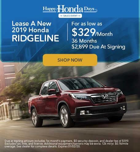 Lease A New 2019 Honda Ridgeline - November Special