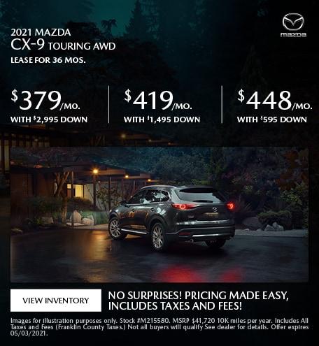 2021 Mazda CX-9 Touring AWD- April Offer