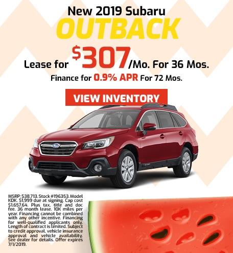 2019 Subaru Outback - Lease