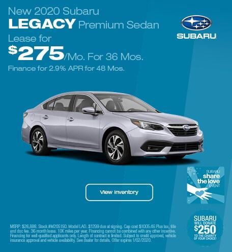 New 2020 Subaru Legacy Premium Sedan