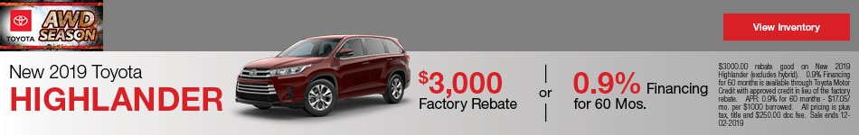 New 2019 Toyota Highlander - Rebate