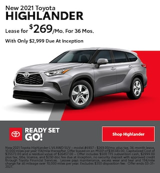 New 2021 Toyota Highlander- March Offer
