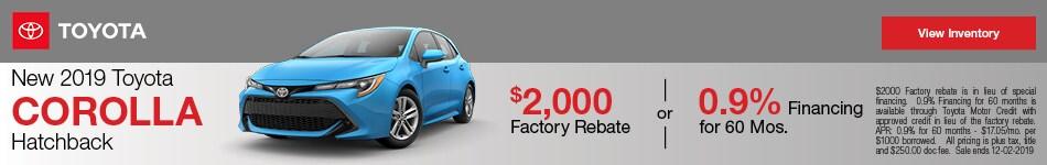 New 2019 Toyota Corolla Hatchback - Rebate