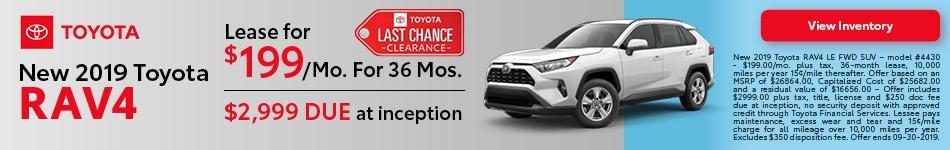 2019 Toyota RAV4 - September Offer