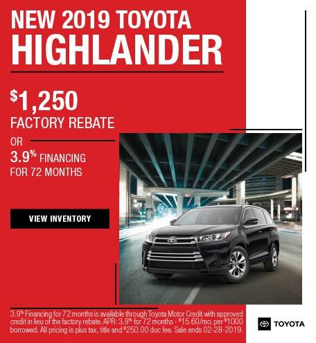 2019 Highlander Rebate