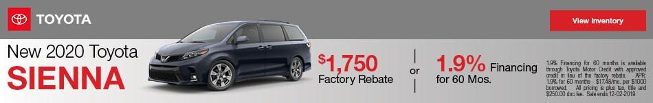 New 2020 Toyota Sienna - Rebate