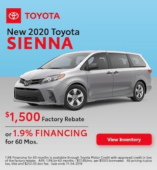 2020 Toyota Sienna - Rebate