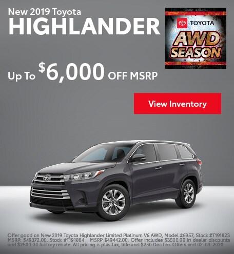 2019 Toyota Highlander - MSRP