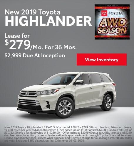2019 Toyota Highlander - Lease