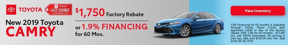 2019 Toyota Camry - September Offer