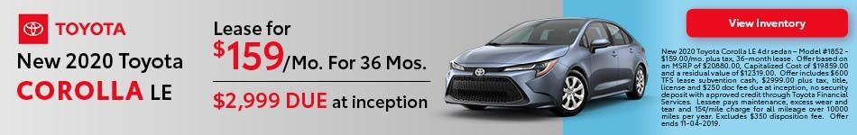 2020 Toyota Corolla - Lease