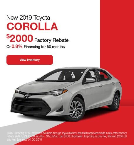 2019 Toyota Corolla - Rebate