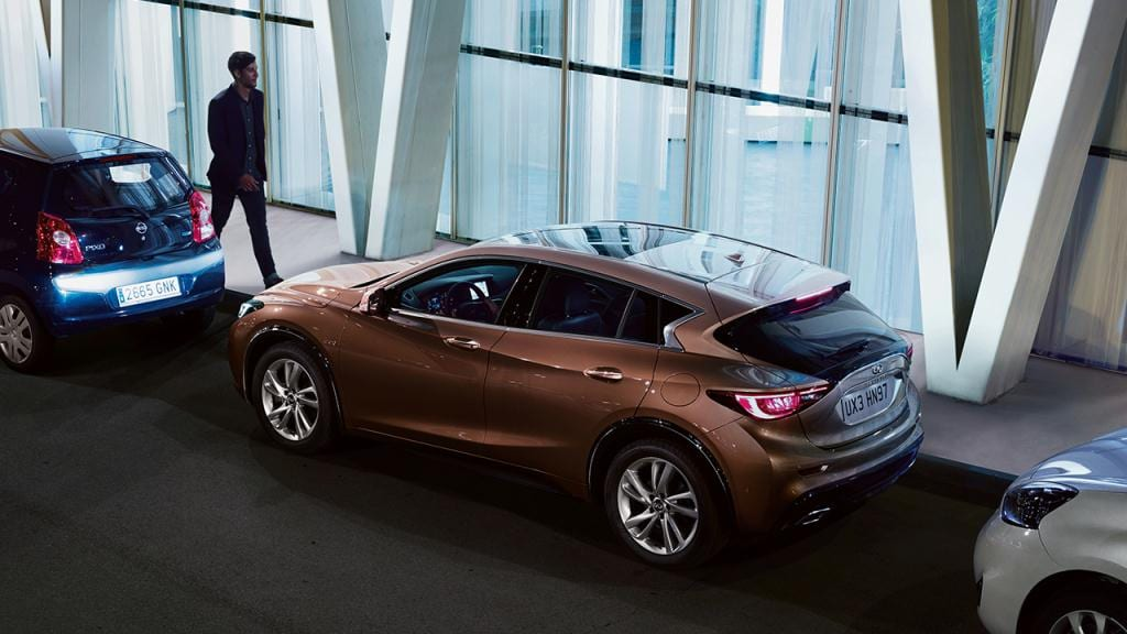 Class leading Technology in the INFINITI QX30 includes INFINITI's new Intelligent Park Assist