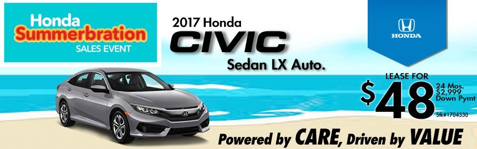 2017 Honda Civic Sedan LX Auto. Lease Special at Cambridge Honda