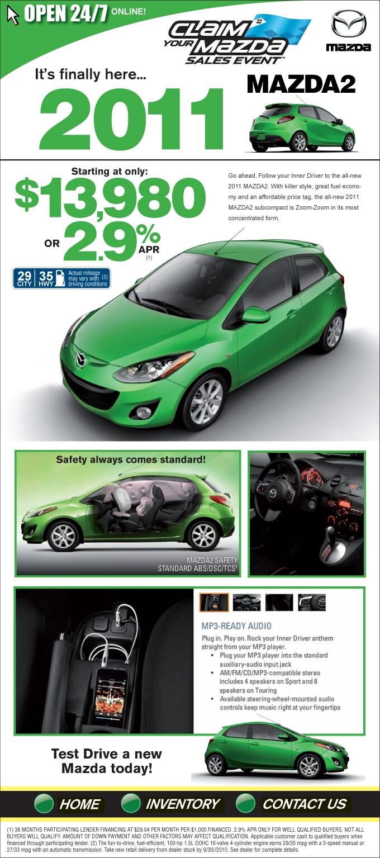 New 2011 Mazda 2 Car Houston Texas | New Houston Mazda 2 Car