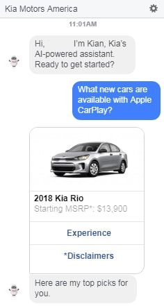 Kia chatbot conversation