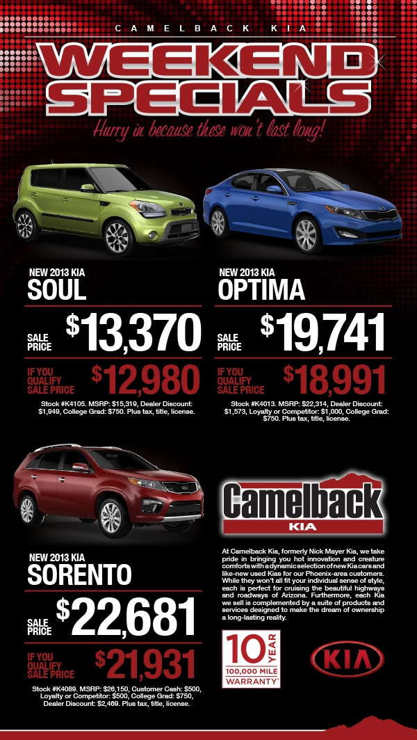 Weekend Specials At Camelback Kia Feb 2013 Camelback Kia